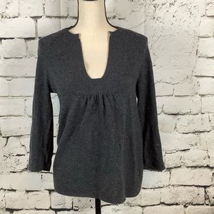 J. Crew Wool/Cashmere Blend Soft Gray Peasant Top